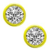 0.28 ct Lady's Bezel Set Round Cut Diamond Stud Earrings In 14 Karat Yellow Gold Screw Back