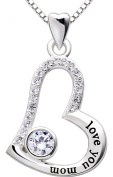 "ALOV Jewellery Sterling Silver ""love you mom"" Love Heart Pendant Necklace for Birthday, Mother's day,Christmas Gift"