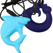 MyBoo Autism/Sensory/Teething Chewable Dragon and Shark Pendant Bundle - Set of 2, Blue