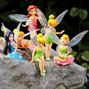 6pcs/set Anime Baby Toy Gift Tinkerbell Dolls Flying Fairy Adorable Tinker Bell Mini Toys Flower Pretty Doll Figures
