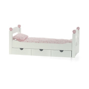 46cm Doll Furniture | White Trundle Bed with Bedding | Fits American Girl Dolls