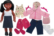 Get Ready Kids African American Doll Set with Everyday Clothes