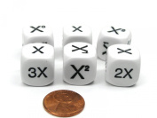Set of 6 D6 16mm Educational Math Dice - 3 Multiplier and 3 Algebra Dice