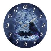 Black Raven Celtic 34cm Wall Clock Round Plate By Brigid Ashwood