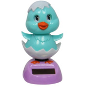 1pce 11cm Grooving Chicken in Egg Super Cute Design and Solar Powered Blue