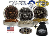 """Crazy Aaron's Thinking Putty Precious Metals Gift Set Bundle Including """"Good as Gold"""", """"Copper Crush"""", """"Pure Platinum"""" & Bonus """"Matty's Toy Stop"""" Storage Bag - 3 Pack"""
