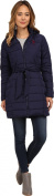 U.S. Polo Assn. Women's Fur Hooded Long Puffer with Patch and Self Tie Belt