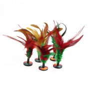 Multicolor Feather Kicking Shuttlecock Chinese Traditional Jianzi Home Sport Toy Keep Fit Pack of 5