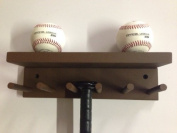 Baseball Softball Bat Rack Display Meant to Hold up to 5 Full Size Bats and 3 Baseballs Brown