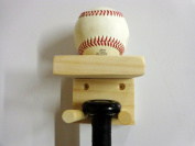 Baseball Bat Rack and Ball Holder Display Meant to Hold 1 Full Size Bat and 1 Baseball Natural Pine Select Wood