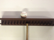 Baseball Bat Rack and Ball Holder Display Meant to Hold 17 Mini Size Collectible Bats and 6 Baseballs Brown