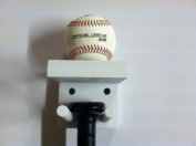 Baseball Bat Rack and Ball Holder Display Meant to Hold 1 Full Size Bat and 1 Baseball White