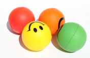 4 Happy Smiley Face Squeeze Ball (Red Yellow Green Orange)- Stress Relief Finger Therapy After Hand Exercise Grip Ball