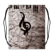 Funny & Fashion Piano Keys and Music Notes Sport Ball Drawstring Backpack, Basketball Drawstring Bags Backpack - 42cm (W) x 49cm (H), Twin-sided Print