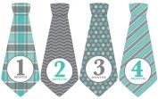 Monthly Baby Ties, Baby Boy, Grey Blue, Grey, Month Necktie