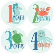 Monthly Baby Stickers, Ocean, Sea Creatures, Fish Stickers, Baby Stickers