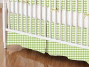 SheetWorld - Crib Skirt (28 x 52) - Sage Gingham Jersey Knit - Made In USA