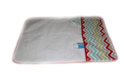 aBaby Changing Pad Mat, Chevron with Red Trim