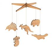 Wooden Australian Animal Nursery Baby Mobile - Tasmanian Oak / Flat pack