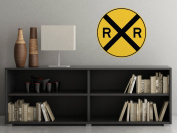 Rail Road Crossing Circular Sign Fabric Wall Decal - Traffic and Street Signs - Small - 3 Sizes Available - Non-Toxic, Reusable, Repositionable
