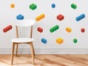 Building Block Bricks Fabric Wall Decals, Set Of 16 Blocks In 4 Colours - Removable, Reusable, Respositionable