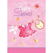 It's a Girl Baby Shower Pink Clothesline Invitations