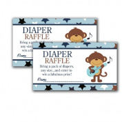 Rock Star Monkey Printed Baby Shower Nappy Raffle Tickets
