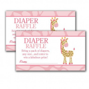 Pink Girl Giraffe Printed Baby Shower Nappy Raffle Tickets
