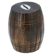 Antique Inspired Barrel Shaped Wooden Coin Holder Money Bank for Adults