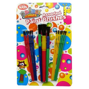 Children's Assorted Painting & Art Brushes - Pack of 15 - Large Brushes & Small Brushes - Animal Antics