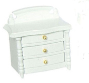 Dollhouse Miniature White Wood Night Stand with Drawers