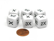 Set of 6 D6 16mm Educational Math Dice - 1, 2, and 3 Times Multiplier Dice