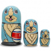 13cm Set of 3 Dog with Rubber Ball Wooden Russian Nesting Dolls