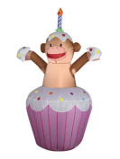 1.1m Light Up Airblown Inflatable Birthday Monkey in Cupcake