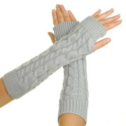 TININNA Cable Knit Cotton Slouch Braided Knitted Arm Fingerless Winter Warmer Gloves