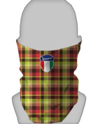 SNOOD NECK WARMER FACE MASK SILVER VESPA SHIELD RED & LIME PLAID DESIGN MADE IN YORKSHIRE