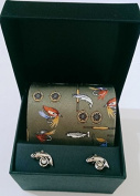 Soprano Green colour Fly Fishing items Silk Country Tie and silver fly fishing cufflinks in a lovely gift box