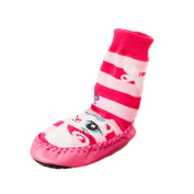 Moolecole Baby Girl Toddlers Kids Indoor Slippers Shoes Socks Moccasins NON SKID PINK STRIPED Cute Cat 13cm
