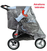 Integral Rain Cover for 3-Wheeled Pushchairs with Canopy