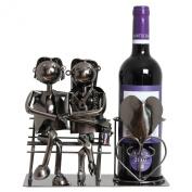 BRUBAKER Wine Bottle Holder Love Couple on a Bench Metal Sculpture Gift