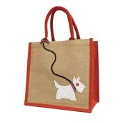 Jute Hessian Medium Red Trim Shopping Bag - Westie Dog on a Sequin Lead