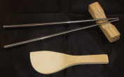STAINLESS STEEL CHOPSTICKS, REST AND RICE PADDLE KIT - COOKING - ORIENTAL