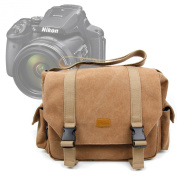 DURAGADGET Brown Canvas Carry Bag / Case for NEW Nikon Coolpix P900 SLR Camera - With Multiple Adjustable Storage Compartments and Long Shoulder Strap