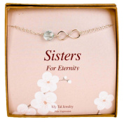 Infinity Bracelet for Sisters or Bridesmaids - Sterling Silver and Light Blue Stone Bridal Party Gift