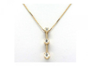 IGI Certified 3 stone REAL diamonds 14K Solid Yellow Gold pendant necklace #25
