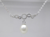 """Sterling Silver 8.5-9mm Genuine White Pearl Pendant Necklace 16"""" Ocean Bubbles Cultured Freshwater"""