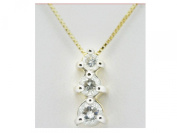 3 stone Journey genuine REAL diamond 14K Solid Yellow Gold pendant necklace #37
