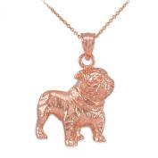 Polished 14k Rose Gold English Bulldog Charm Pendant Necklace