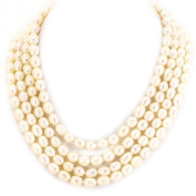 4 Strands White Freshwater Pearl Sterling Silver Necklace 41cm - 50cm N13010197g