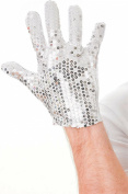 Adults Fancy Party Accessory Michael Jackson Style Men's Sequin Gloves Silver